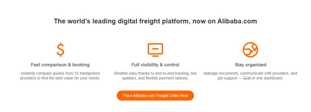Alibaba freight logistics screenshot